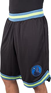 Ultra Game NBA Minnesota Timberwolves Men's Mesh Basketball Shorts Woven Active Basic, Large, Black