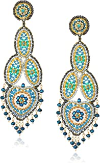 Miguel Ases Large Opaque Contrasted Heart Swarovski Teal Chandelier Drop Earrings