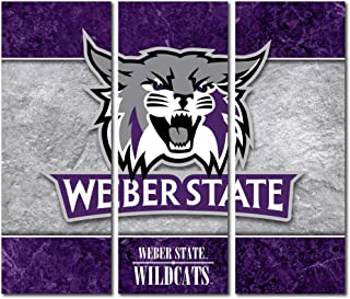 Victory Tailgate Weber State University Wildcats Canvas Wall Art Triptych Double Border Design