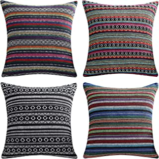AmHoo Bohemian Retro Stripe Throw Pillow Covers Double-Sided Pattern with Hidden Zipper Colorful Ethnic Set of 4 Pillowcase for Couch Sofa Bed Livingroom 20x20Inch Multicolour Green