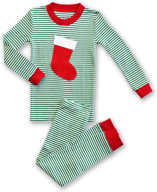 Sara's Prints Unisex Holiday Stocking 2-Piece Long John Pajamas, Kids Size 10