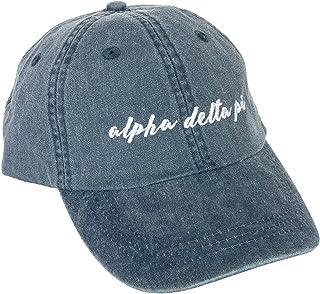 Alpha Delta Pi (N) Sorority Baseball Hat Cap Cursive Name Font ADPi (Midnight Blue)