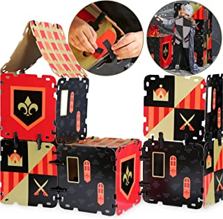 FAO Schwarz 16 Piece Toy Cardboard Fort Building Set, Indoor/Outdoor Play Construction, Lightweight/Durable Easy Assembly Design W/ Reusable Adhesive Straps, an Educational STEM Gift for Children