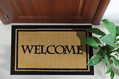 """Ottomanson Welcome Collection Doormat, 20"""" x 30"""", Beige, Welcome Text"""