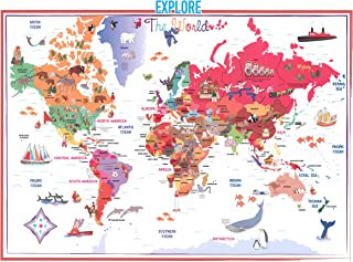 Swiftmaps 28x40 Kids World Map Poster Laminated for Children