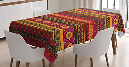 Lunarable Aztec Tablecloth, South American Abstract Borders Mexican Peruvian Folk Art Elements Boho Doodle, Rectangular Table Cover for Dining Room Kitchen Decor, 60