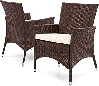 Best Choice Products Set of 2 Modern Contemporary Wicker Patio Dining Chairs w/Water-Resistant Cushions