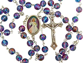 CB Silver Plated 7MM Multi Color Glass Bead with Divine Mercy Centerpiece Rosary Necklace, 18