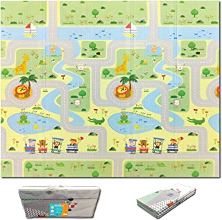Fun N Well Foldable XPE Baby Play Mat | King Size 197x178x1cm | Non Allergenic & Non Toxic Foam | Waterproof & Reversible ...