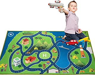 "2019 Kids Rug Area Play Mat Car Carpet with Road 4'11"" X 2'7"" Intelligence Development Island Oasis Military Game Theme--(HD) with Non-Slip Backing Non Toxic for Playroom Bedroom Classroom Educational"