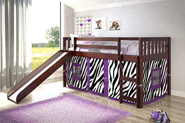 Donco Kids 780TCP Mission Low Loft Bed With Slide And Zebra Tent Twin Dark Cappuccino