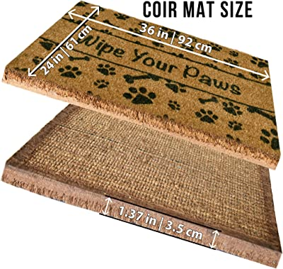 Ninamar Woven Door Mat All Natural Coir - Extra Thick - 90 x 60 cm - Wipe Your Paws