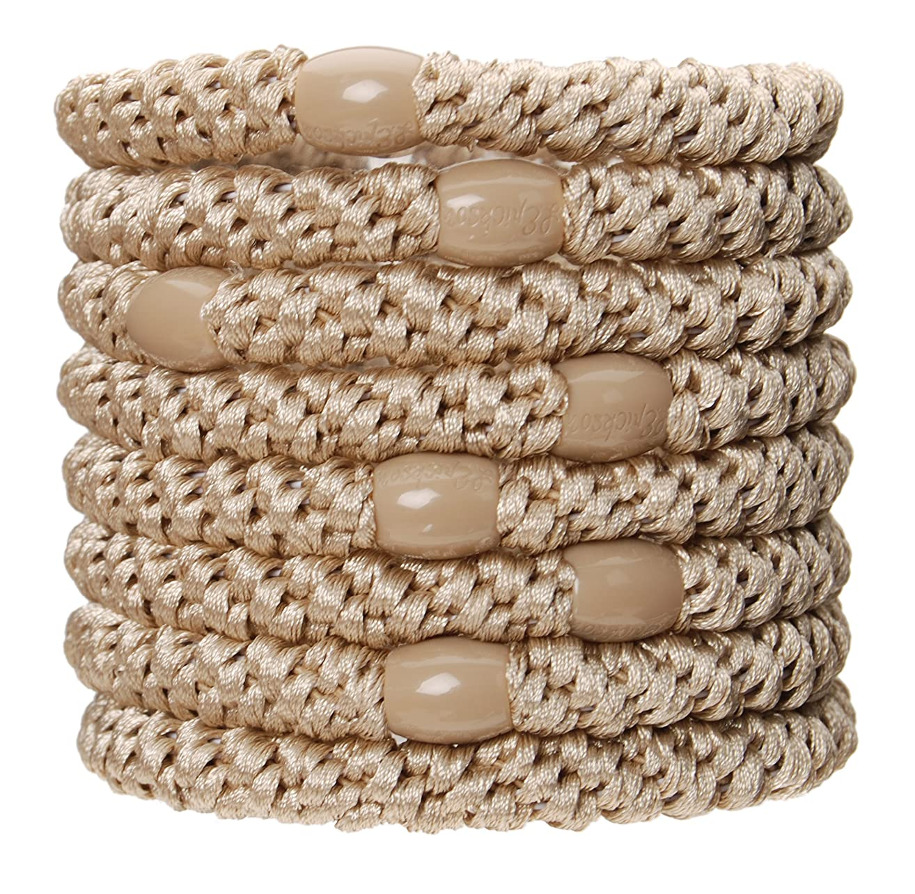 L. Erickson Grab & Go Ponytail Holders, Beige, Set of Eight - Exceptionally Secure with Gentle Hold