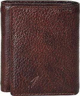 ESSEMM Men's 3 Folds Leather Wallet (Brown)