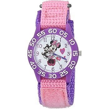 DISNEY Girls Minnie Mouse Analog-Quartz Watch with Nylon Strap, Pink, 16 (Model: WDS000165)