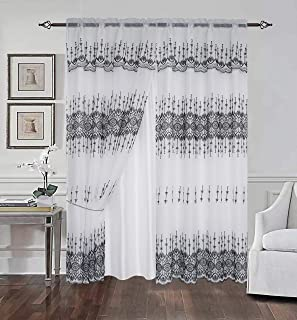 Beatrice Home Embroidery Window Panel Set Drapes Curtain with Attached Valance and Backing Sheer Measuring 54x84 for Livin...