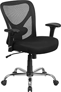 Flash Furniture HERCULES Series Big & Tall 400 lb. Rated Black Mesh Swivel Task Chair with Height Adjustable Back and Arms , 29