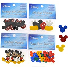 Dress It Up Disney Mickey Mouse Button Embellishment Assortment - 4 Pack - Includes 3 Free Mickey Glitter Head Buttons