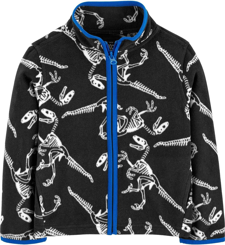 OshKosh B'Gosh Boys Full Zip Skeleton Dinosaur Fleece Pullover Cozie Jacket Size