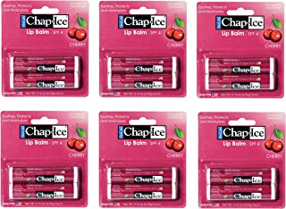 Chap Ice Lip Balm - Soothes, Protects and Moisturizes - 12 Sticks (Cherry)