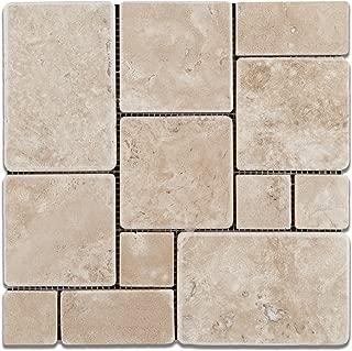 Durango Cream (Paredon) Travertine Tumbled OPUS Mini-Pattern Mosaic Tile - Sample Piece
