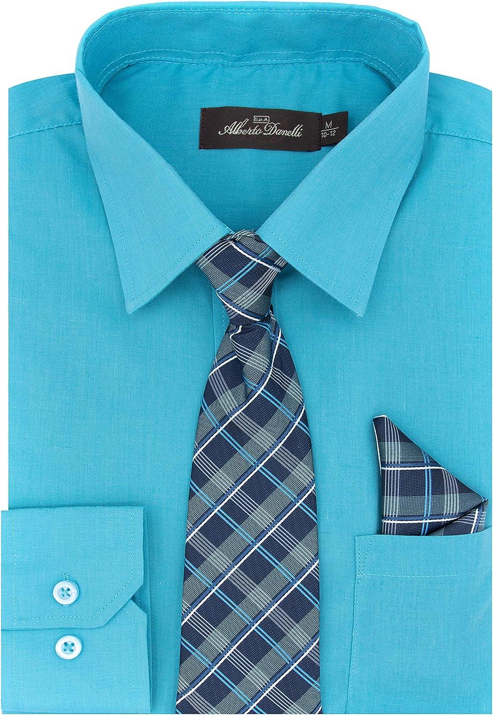 Alberto Danelli Boys Dress Shirt Handkerch and Oklahoma City Mall Tie with Translated Matching
