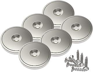 Magnetpro 6 stuks schijfmagneten met capsule 20 kg trekkracht 28 x 5 mm, potmagneet met schroeven