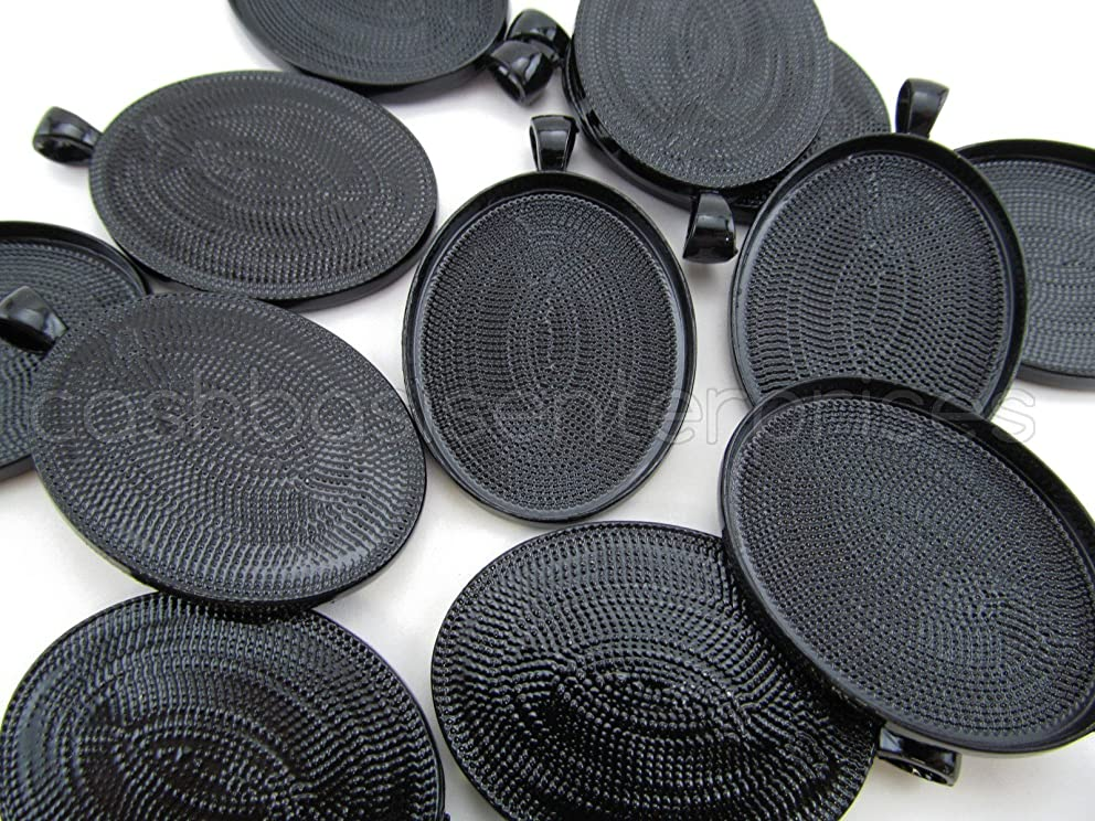 CleverDelights 50 Oval Pendant Trays - Dark Black Color - 30 x 40 mm - Pendant Blanks Cameo Bezel Cabochon Settings - 30x40mm