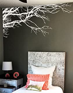 Large Tree Wall Decal Sticker - Semi-Gloss White Tree Branches, 44in X 100in, Left to Right. Removable, No Paint Needed, Tree Branch Wall Stencil The Easy Way.