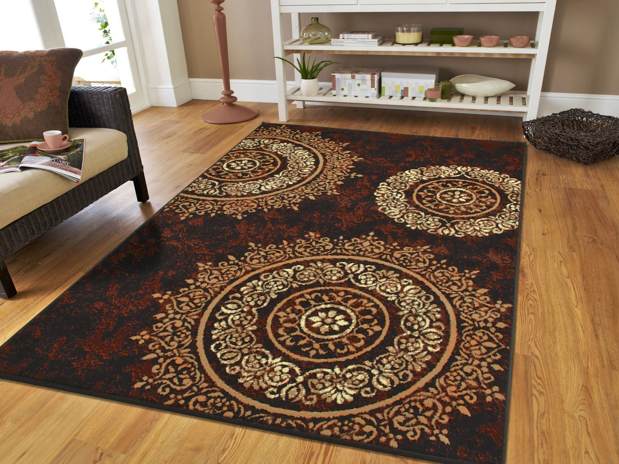 Amazon Com Large Contemporary Area Rugs 8x11 Modern Living Room Rugs 8x10 Black Brown Beige Cream Floral Rugs Clearance Area Rug Prime Furniture Decor