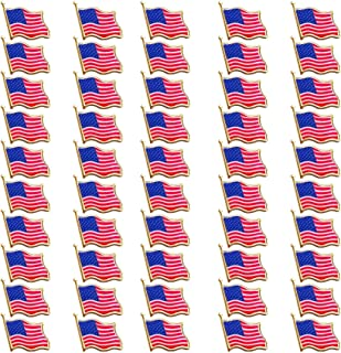 Bassion 50 Pcs American Flag Pins for Veterans Day Gift Waving United States Patriotic USA Lapel Pin
