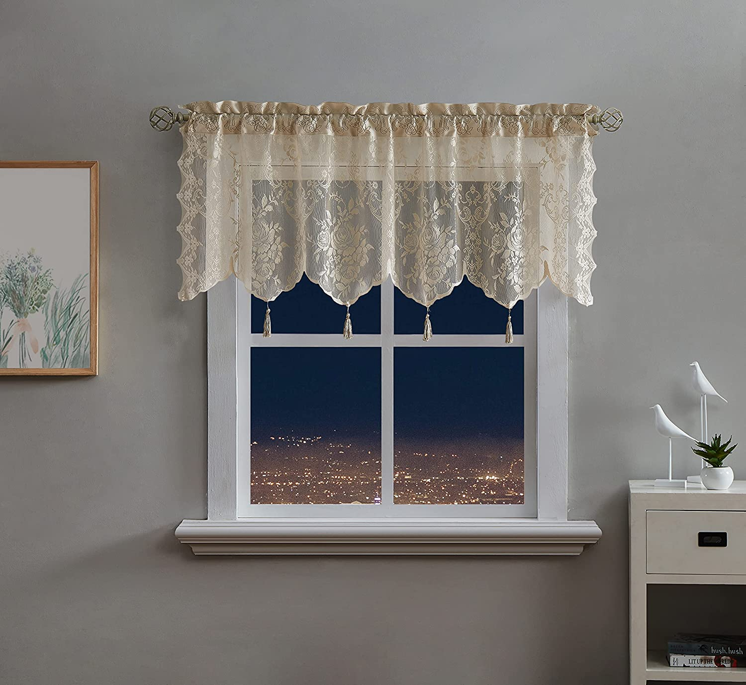 LinenZone - English Rose Design Max 87% OFF Sheer New life Valance Lace Voile Semi