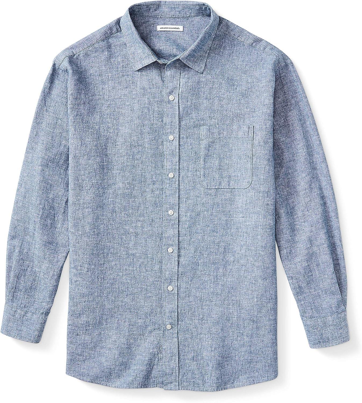 Amazon Essentials Men's Big & Tall Long-Sleeve Linen Cotton Shirt fit by DXL