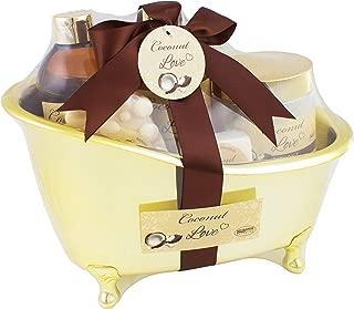 BRUBAKER Beauty Gift Set 'Coconut Love' with Golden Bathtub, Bath Fizzer, Bubble Bath, Shower Gel, Bath Salt, Soap