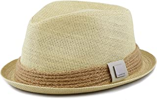 a434fbc231be6 THE HAT DEPOT Womens Short Brim Sun Straw Fedora Hat with Raffia Band