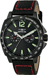 ساعة إنفيكتا الرجالية 0857 II كولكشن من الفولاذ المقاوم للصدأ والجلد الأسود