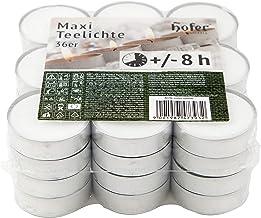 Hofer Bougies Chauffe-plat Maxi Grandes - 36 pièces - 8 heures de combustion - Cire non parfumée, sans gouttes, longue dur...