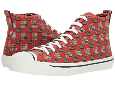 Burberry Kingly High Top Sneaker (Bright Red) Men