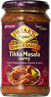 Patak's Tikka Masala Curry Cooking Sauce, Medium, 15-Ounce Glass Jars (Pack of 6)