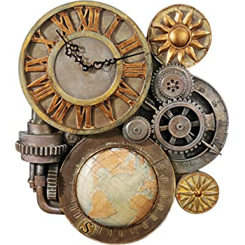 Design Toscano Gears of Time Steampunk Wall Clock Sculpture, Medium, Full Color