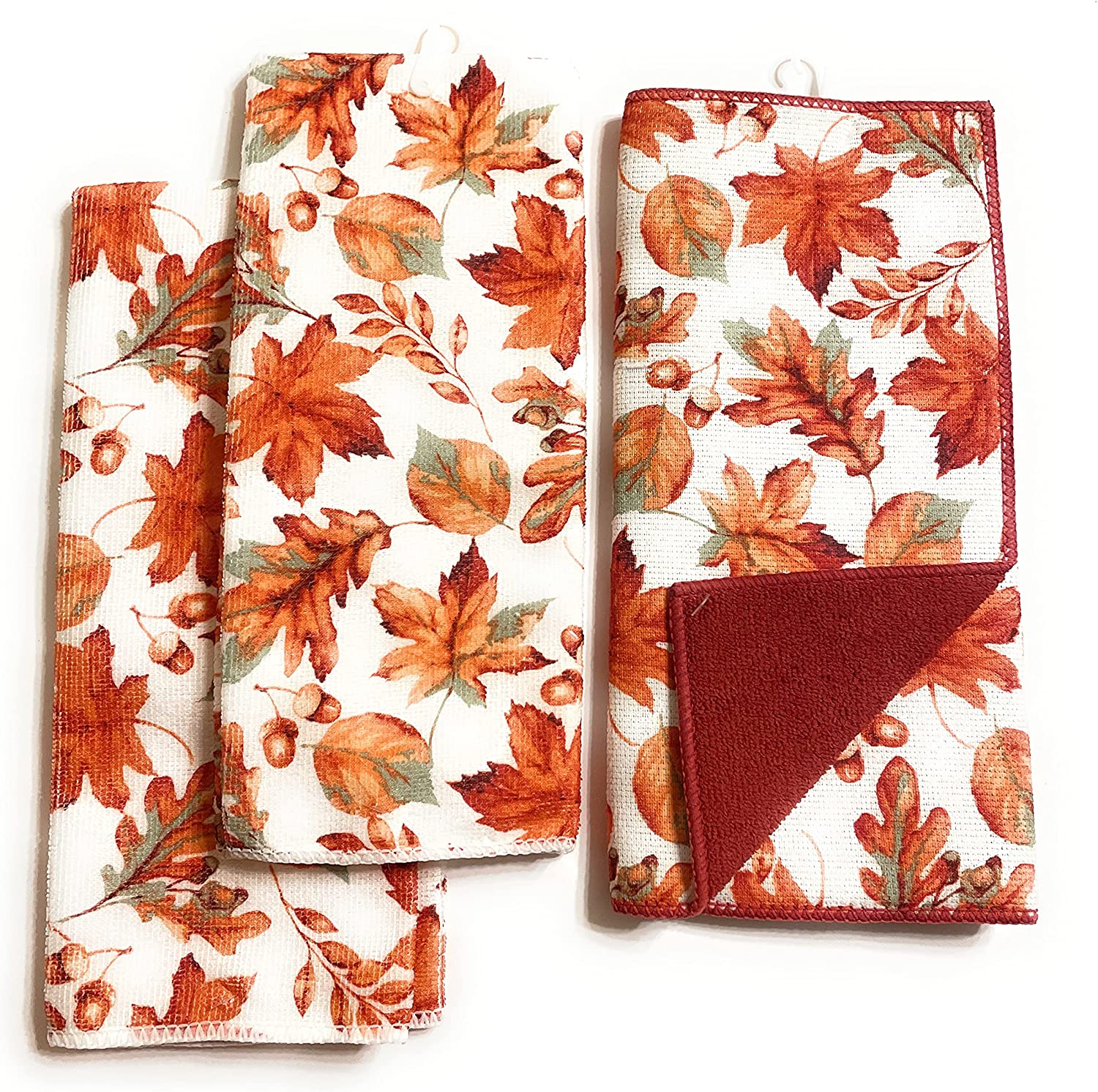C.Factory Shipping included Autumn Sale price Harvest Fall Leaves Orange Towels- Thanksgiving