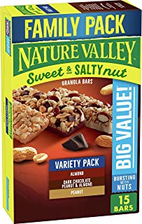 Nature Valley Sweet and Salty Nut Variety Pack 15Ct : Peanut, Almond, and Dark Chocolate, Peanut and Almond Granola Bars