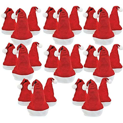 b674765f179bf Bottles N Bags 24 Santa Hats for Holiday Office Parties and Festive  Christmas Photos Pack of