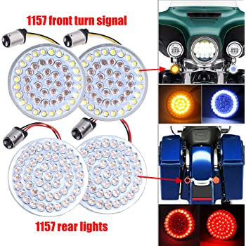2 Inch LED Turn Signal Kit 1157 Base White/Amber Front Turn Signal Bulbs + 1157 Double Connector Red Rear Turn Signal Lights Compatible with Harley Street Glide Motorcycle