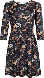LaVieLente 3/4 Sleeve High Waist Jersey Skater Dress w/Elastic Waist Design in Dinosaur/Owl Patterns