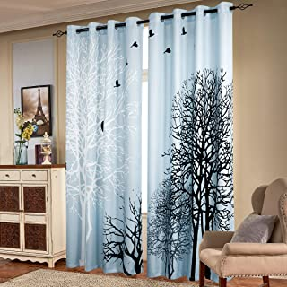 subrtex Printed Curtains Blackout for Bedroom Living Room Kids Room Dining Room Valance Colorful Window Drapes 2 Panel Set (52'' x 95'', Light Blue)