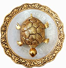 Pinnacle Golden Feng Shui Metal Tortoise with Metal and Glass Plate showpiece, Lucky Charms Good Omens Good Health Save Now
