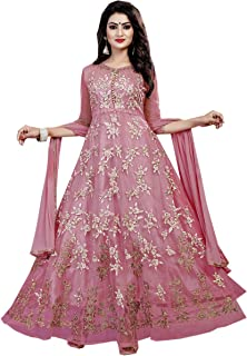 Ethnic Empire Women's Net Semi Stitched Salwar Suit(Ethnic_ER110113_ Purple_Free Size)
