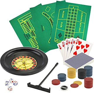 5 in 1 Deluxe Casino Game Set | Set Includes: Poker, Blackjack, Roulette, Craps, Playing Cards