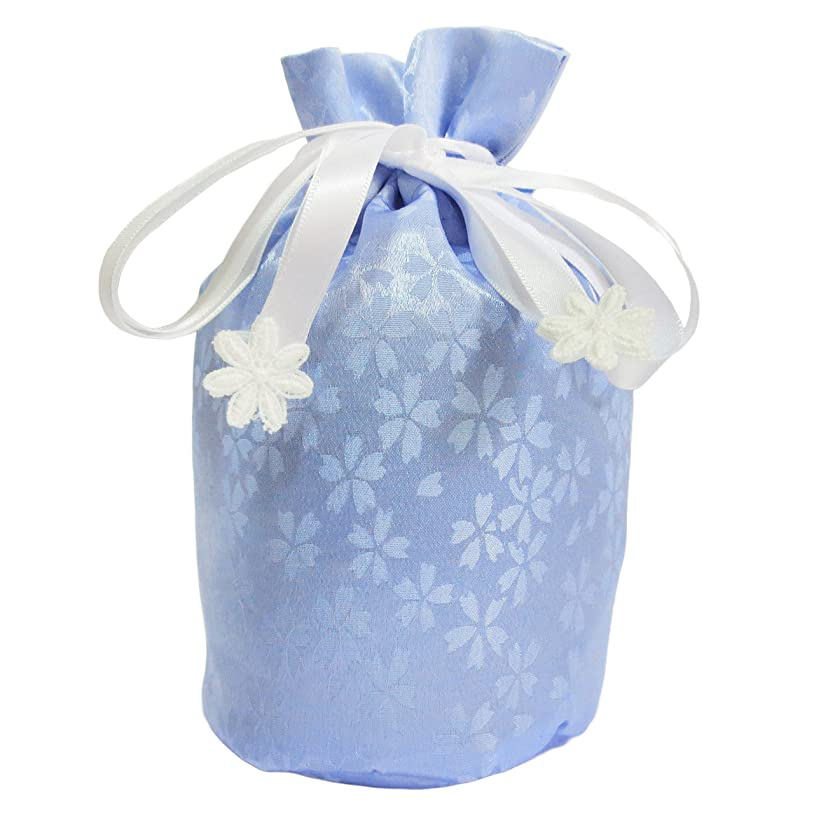 取り組む慰め委員長仏具 骨壷用 覆い袋のみ 巾着タイプ 3寸 小桜 ブルー 手元供養